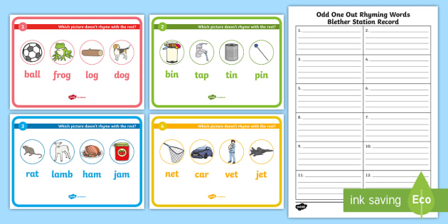 Odd One Out Rhyming Words Blether Stations (teacher made)