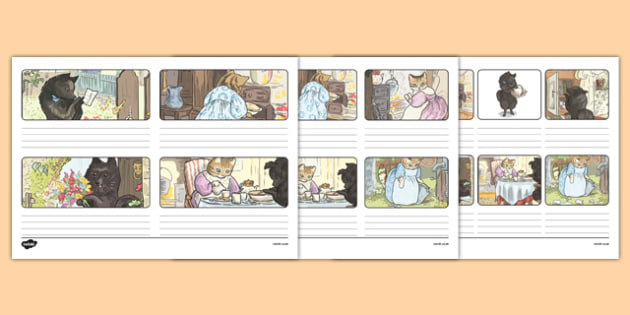 Beatrix Potter - The Tale of the Pie and the Patty-Pan Storyboard Template - beatrix potter, pie, patty-pan, storyboard template