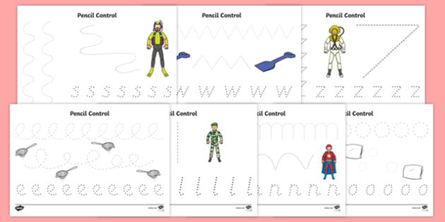 Action Toy Pencil Control Sheets - traction man, action toy, pencil control, worksheet