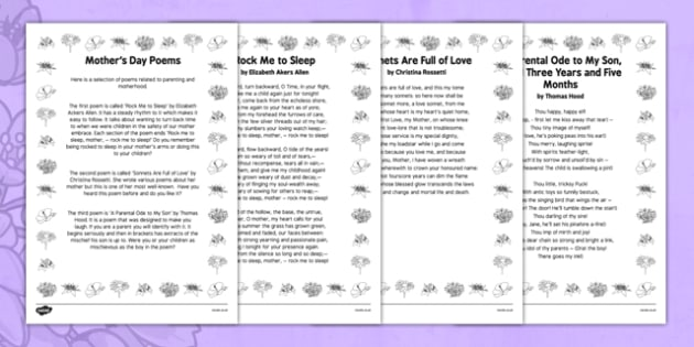 Elderly Care Mother's Day Poems - Elderly, Reminiscence, Care Homes, Mother's Day, activity, memory