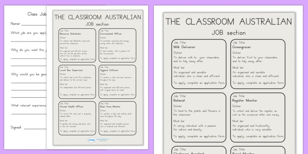 Transition Classroom Job Application Adverts And Forms