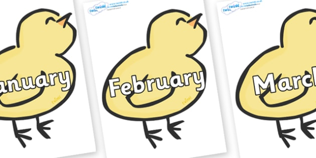 Months of the Year on Chicks - Months of the Year, Months poster, Months display, display, poster, frieze, Months, month, January, February, March, April, May, June, July, August, September