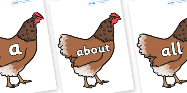100 High Frequency Words on Hens - High frequency words, hfw, DfES Letters and Sounds, Letters and Sounds, display words