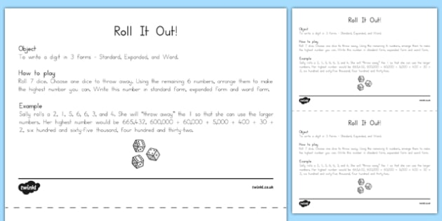 Roll It Out Number Forms Game Us Resources Common Core