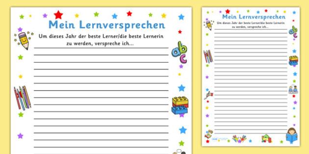 Mein Lernversprechen - german, my holiday, snapshot, writing frame, writing, frame, holiday