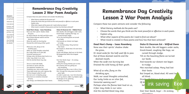 Remembrance Day Creativity Lesson 2 War Poem Analysis Activity Sheet