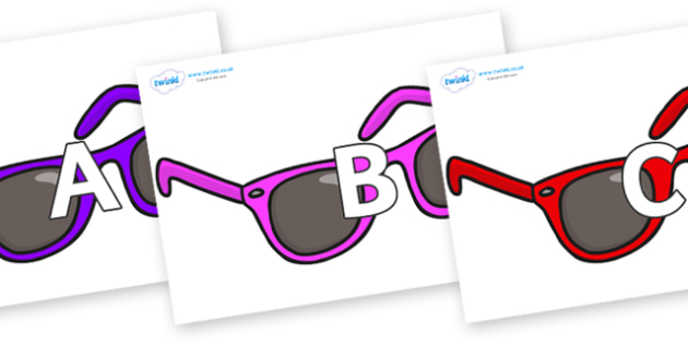 A-Z Alphabet on Sunglasses - A-Z, A4, display, Alphabet frieze, Display letters, Letter posters, A-Z letters, Alphabet flashcards