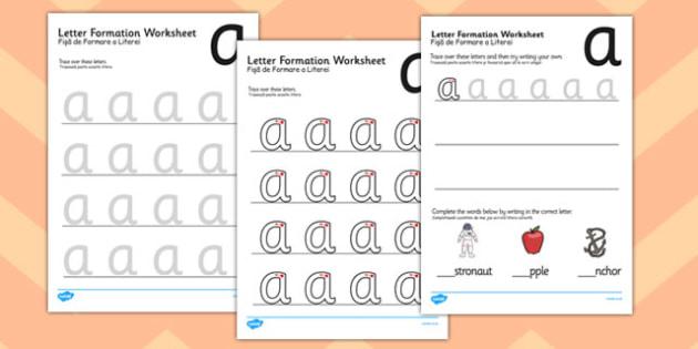 a z letter formation worksheets romanian translation english information. Black Bedroom Furniture Sets. Home Design Ideas