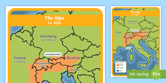 The Alps Map English/Italian - habitat, mountain, climate ...