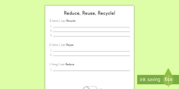 Reduce Reuse Recycle Thinking Activity Earth Day Reduce