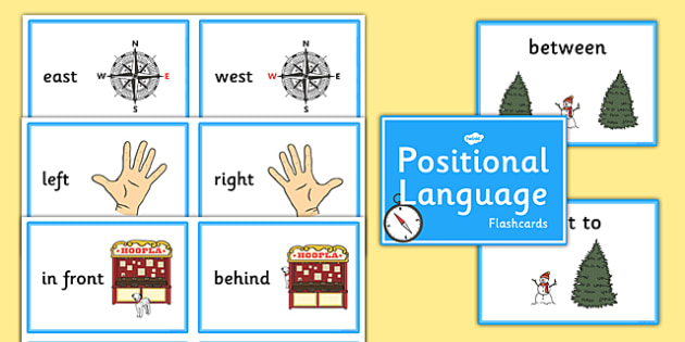 Positional Language Flashcards - Compass Point, positional language, position, language, flash cards