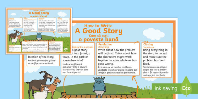 How To Write A Good Story Checklist English/Romanian - How To Write A Good Story Checklist - how to write a good story, story, checklist, good story, creat