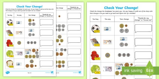 check your change worksheet worksheet learning from home maths workbooks. Black Bedroom Furniture Sets. Home Design Ideas
