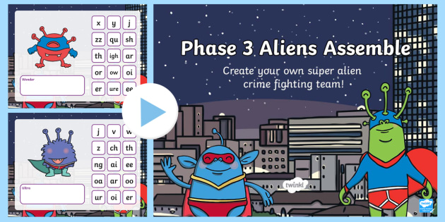 Phase 3 Phonics Aliens Assemble PowerPoint