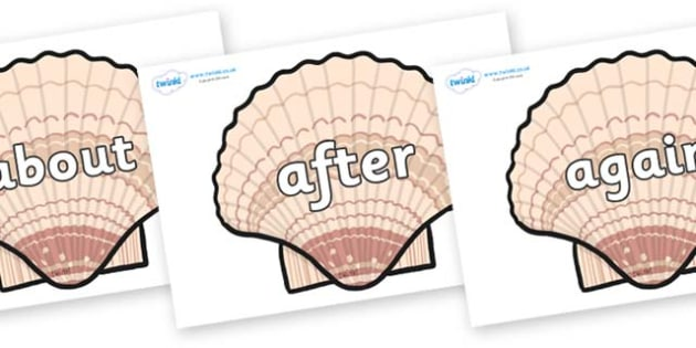 KS1 Keywords on Seashells - KS1, CLL, Communication language and literacy, Display, Key words, high frequency words, foundation stage literacy, DfES Letters and Sounds, Letters and Sounds, spelling