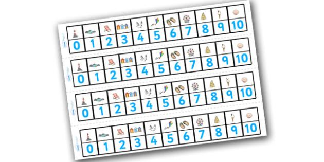 Seaside Number Track (1-10) - Seaside, Summer, Maths, Math, number track, numbertrack, Counting, Numberline, Number line, Counting on, Counting back, holidays, water, tide, waves, sand, beach, sea, sun, holiday, coast