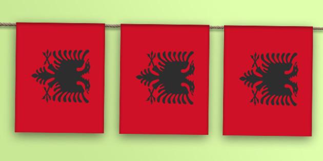 Albania Flag Bunting - albania flag, albania, flag, display bunting, display, bunting