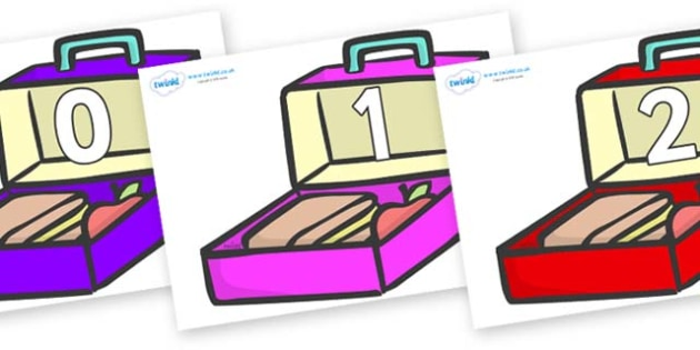 Numbers 0-31 on Lunchboxes (Multicolour) - 0-31, foundation stage numeracy, Number recognition, Number flashcards, counting, number frieze, Display numbers, number posters