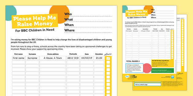 BBC Children in Need Sponsorship Form