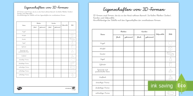Colorful Eigenschaften In Mathe Arbeitsblatt Mold - Kindergarten ...