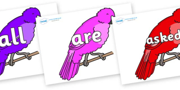 Tricky Words on Parakeets - Tricky words, DfES Letters and Sounds, Letters and sounds, display, words
