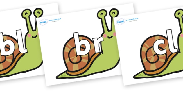 Initial Letter Blends on Snails - Initial Letters, initial letter, letter blend, letter blends, consonant, consonants, digraph, trigraph, literacy, alphabet, letters, foundation stage literacy