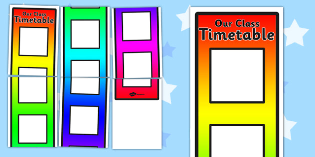 Rainbow Vertical Visual Timetable Display - space saving, bright, colourful, record, routine, schedule, early years, ks1, ks2
