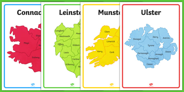 Blank Map Of Ireland Counties.Provinces Of Ireland Map Outline Display Posters