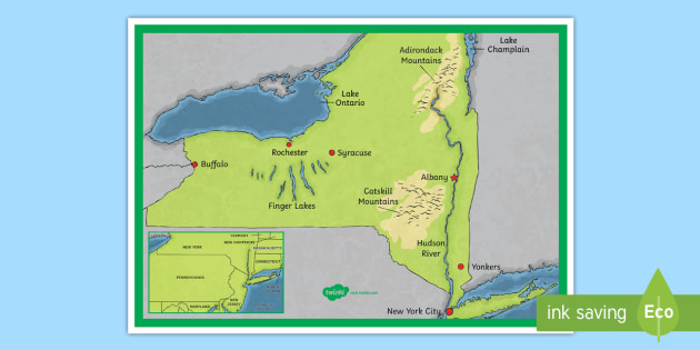 New York State Map - New York, New York Map, Hudson River, Adirondack