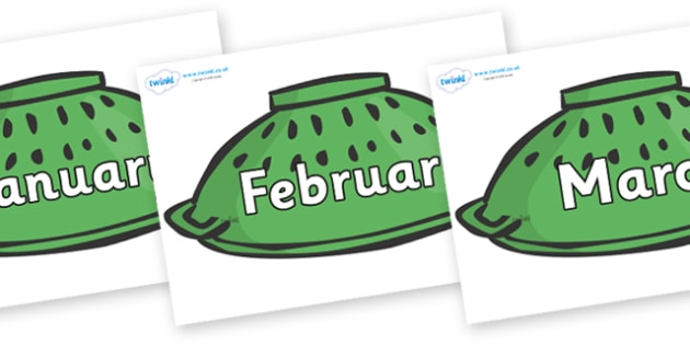 Months of the Year on Colander Helmets - Months of the Year, Months poster, Months display, display, poster, frieze, Months, month, January, February, March, April, May, June, July, August, September