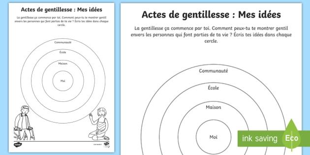 Feuille d'activité la gentillesse : Mes idées - Altruisme, bonté, amabilité, maison, cycle 1,French