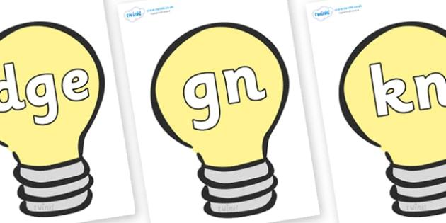 Silent Letters on Lightbulbs (Plain) - Silent Letters, silent letter, letter blend, consonant, consonants, digraph, trigraph, A-Z letters, literacy, alphabet, letters, alternative sounds