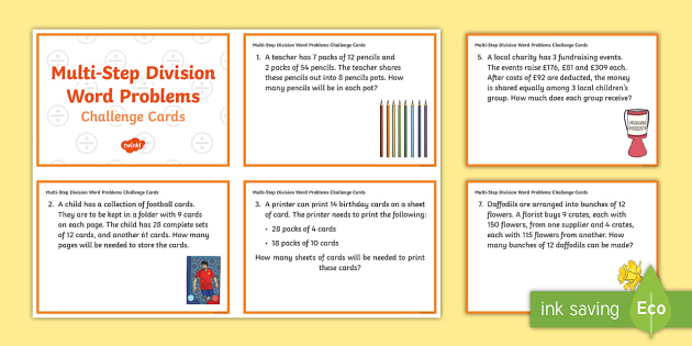 KS2 Multi-Step Division Word Problems Maths Challenge Cards