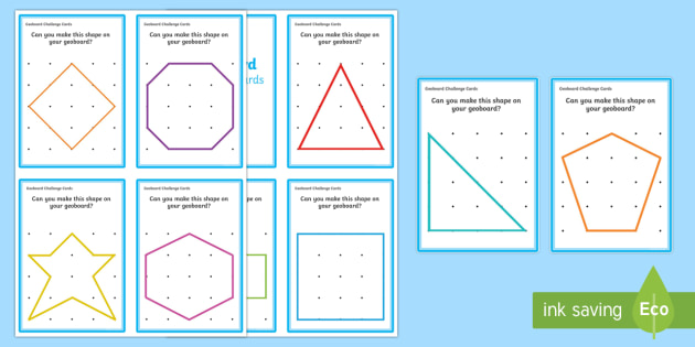 Geoboard 2D Shapes Challenge Cards - shape, space, measure, 2D