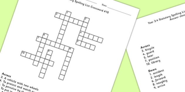 Year 3-4 Statutory Spelling List Crossword 10 - crossword, spell
