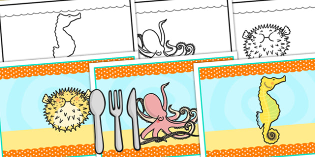 Under the Sea Themed Birthday Party Place Mats - birthdays, mats