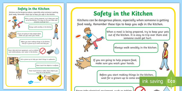 Safety In The Kitchen Display Poster Teacher Made