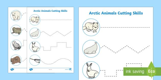 Arctic Animal Themed Cutting Skills Activity