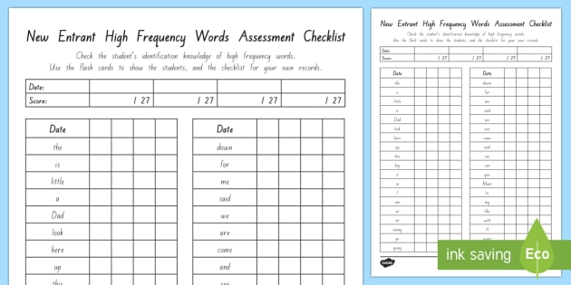 New Zealand New Entrant High Frequency Word Assessment Checklist - New Zealand, Planning and Assessment,New Entrants,School, Entry, Test,New Entrant, assessment,High f