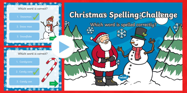 Christmas Vocabulary Spelling PowerPoint - Christmas USA, spelling, USA, Christmas, words,