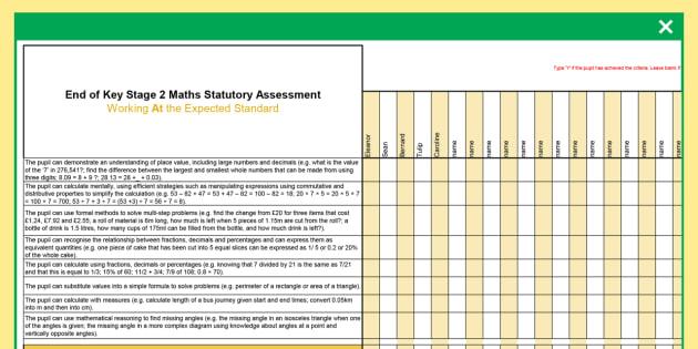 ks2 maths exemplification whole class spreadsheet assessment checklist ks2 maths exemplification