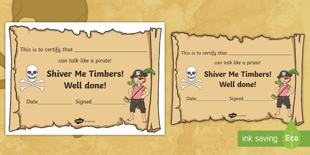 New I Can Talk Like A Pirate Certificate Talk Like A