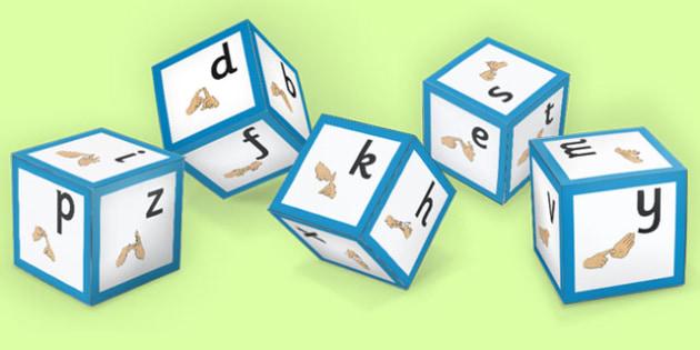 Alphabet Sound Dice with British Sign Language - sign