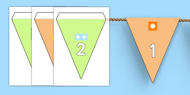 Number Line to 50 with Counting Shapes Bunting - bunting, display