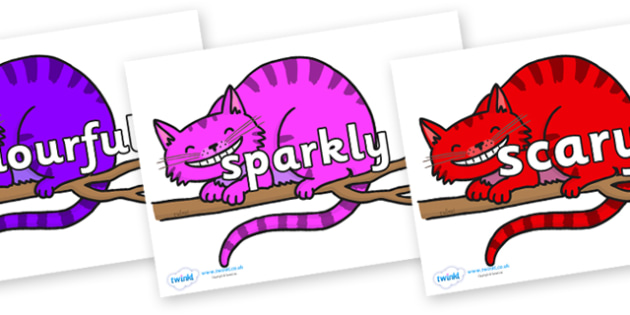 Wow Words on Cheshire Cats - Wow words, adjectives, VCOP, describing, Wow, display, poster, wow display, tasty, scary, ugly, beautiful, colourful sharp, bouncy