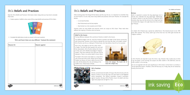 Shi'a Beliefs and Practices Activity Sheets - Introduction to Shi'a Islam worksheet, islam, shi'a,