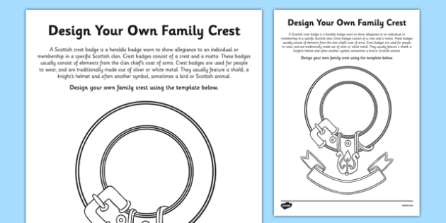 Design Your Own Scottish Clan Crest Activity Sheet - cfe, design, scottish clan, crest, activity, worksheet