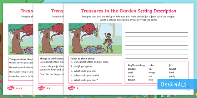 Beautiful Treasures In The Garden Dragon Setting Description Differentiated Worksheet  / Activity Sheets   Setting, Describe