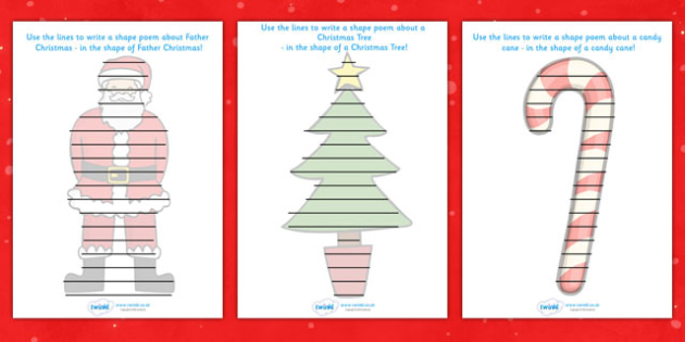 Christmas Themed Shape Poetry Templates - christmas, shape poetry