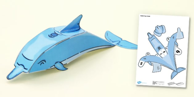 Under the Sea Simple 3D Dolphin - 3d, dolphin, paper, model